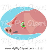 Swine Clipart of a Sad Green Eyed Pink Pig Face over BlueSad Green Eyed Pink Pig Face over Blue by Prawny