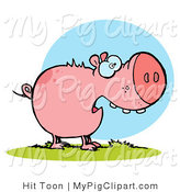 Swine Clipart of a Scared Pig by Hit Toon