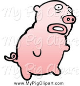 Swine Clipart of a Scared Pig by Lineartestpilot