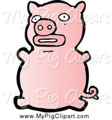 Swine Clipart of a Scared Pink Pig by Lineartestpilot