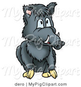 Swine Clipart of a Seated Gray Boar with Tusks Looking Right by Dero