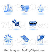 Swine Clipart of a Shiny Blue Office Icons on a White Background by AtStockIllustration