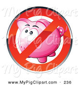 Swine Clipart of a Shiny Red Restriction Sign over a Pink Piggy Bank on White by Beboy