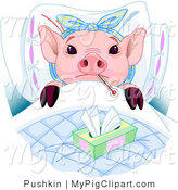 Swine Clipart of a Sick Adorable Pink Piglet Laying in Bed with a Thermometer and Tissues, Sick with the Flu by Pushkin