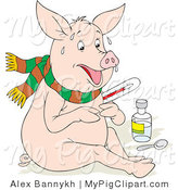 Swine Clipart of a Sick Pig with the Flu, Sweating, Holding a Thermometer and Sitting with Medicine and a Spoon by Alex Bannykh
