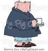 Swine Clipart of a Sick Pink Pig Drinking Tea and Standing in His PJs by Djart