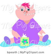 Swine Clipart of a Sick Pink Pig with the Flu, a Thermometer in Its Mouth, Sitting with a Box of Tissues by Bpearth