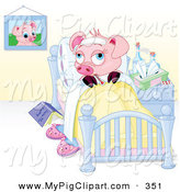 Swine Clipart of a Sick Pink Piggy Resting in Bed by Pushkin