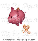 Swine Clipart of a Sideways Pink Piggy Bank with Stacks of Euro Coins, One Coin Going into the Slot by KJ Pargeter