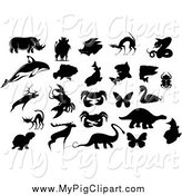 Swine Clipart of a Silhouetted Pig and Animals by Vector Tradition SM