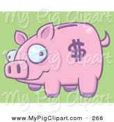 Swine Clipart of a Silly Pink Piggy Bank with a Dollar Symbol on Its Side by John Schwegel