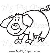 Swine Clipart of a Sketched Black and White Happy Pig by Dennis Holmes Designs