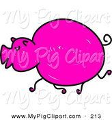 Swine Clipart of a Sketched Neon Pink Pig by Prawny