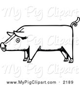 Swine Clipart of a Sketched Pig - Black and White Outline Design by Prawny Vintage