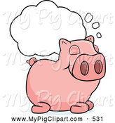 Swine Clipart of a Sleeping Pig Under a Dream Cloud by Cory Thoman