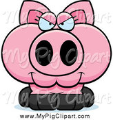 Swine Clipart of a Sly Pig by Cory Thoman