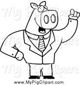 February 9th, 2014: Swine Clipart of a Smart Black and White Business Pig with an Idea by Cory Thoman