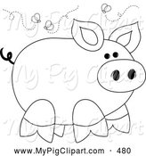 Swine Clipart of a Smelly Stinky Piggy Surrounded by Flies by Pams Clipart