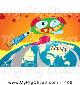 June 4th, 2013: Swine Clipart of a Smiling Jack in the Box Pig with a Syringe and H1n1 Flu Globe over Orange by Mayawizard101