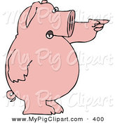 May 27th, 2013: Swine Clipart of a Smiling Standing Pink Pig Shouting and Pointing to the Right by Djart