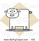 Swine Clipart of a Square Bodied Pig Looking Forward by Qiun