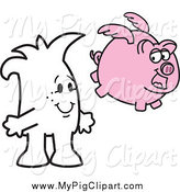 Swine Clipart of a Squiggle Guy Watching a Flying Pig by Toons4Biz