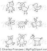 Swine Clipart of a Stick Figure Cat, Dog, Bird, Dragonfly, Ladybug, Butterfly, Pig, Puppy Dog and Horse by C Charley-Franzwa