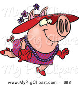 Swine Clipart of a Stylish Pig Wearing a Hat by Ron Leishman