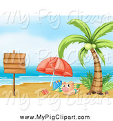 Swine Clipart of a Sun Bathing Pig and Sign on a Tropical Beach by Graphics RF