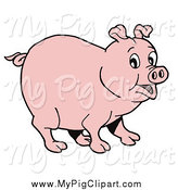 Swine Clipart of a Surprised Pink Pig by LaffToon