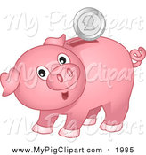 Swine Clipart of a Surprised Pink Piggy Bank with a Silver Coin by BNP Design Studio