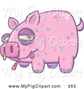 Swine Clipart of a Sweating and Snotting Pink Pig with the Swine Flu on White by John Schwegel