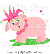 Swine Clipart of a Sweet Friendly Pink Pig Wearing a Jester Hat and Standing in Grass by Bpearth