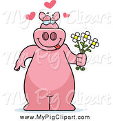 Swine Clipart of a Sweet Pig Standing and Holding Flowers by Cory Thoman