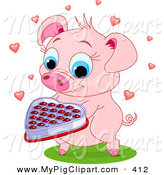 Swine Clipart of a Sweet Pink Pig Holding out a Box of Valentine Chocolates by Pushkin