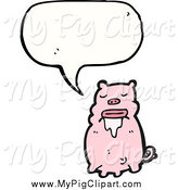 Swine Clipart of a Talking Drooling Pig by Lineartestpilot