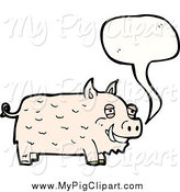 Swine Clipart of a Talking Happy Pig by Lineartestpilot