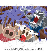 Swine Clipart of a the Big Bad Gray Wolf Blowing down a House of Sticks by Mayawizard101