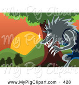Swine Clipart of a the Big Bad Gray Wolf Watching the Three Pigs from Behind a Tree by Mayawizard101