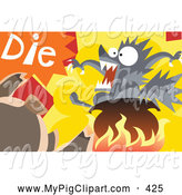 Swine Clipart of a the Three Little Pigs Cooking the Big Bad Wolf in a Pot by Mayawizard101