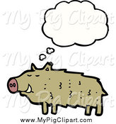 Swine Clipart of a Thinking Brown Pig by Lineartestpilot