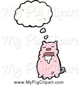 Swine Clipart of a Thinking Drooling Pig by Lineartestpilot