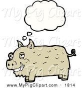 March 5th, 2016: Swine Clipart of a Thinking Happy Pig by Lineartestpilot