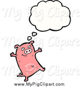 Swine Clipart of a Thinking Pink Pig by Lineartestpilot