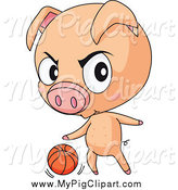 Swine Clipart of a Toug Pig Playing Basketball by Graphics RF