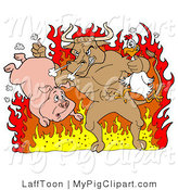 Swine Clipart of a Tough Brown Bull Holding a Chicken and Pig and Standing in Hot Flames by LaffToon