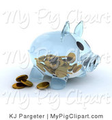 Swine Clipart of a Transparent Glass Piggy Bank with Pennies on the Inside and Some Resting Outside by KJ Pargeter
