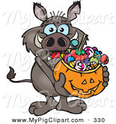 Swine Clipart of a Trick or Treating Brown Boar Holding a Pumpkin Basket Full of Halloween Candy by Dennis Holmes Designs