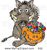 Swine Clipart of a Trick or Treating Brown Warthog Holding a Pumpkin Basket Full of Halloween Candy by Dennis Holmes Designs