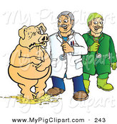 Swine Clipart of a Veterinarian and Doctor Assisting a Pig Covered in Throw up by Snowy
